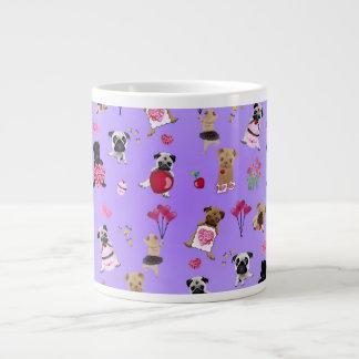 Cool Valentine Pugs on Lavender Background Large Coffee Mug
