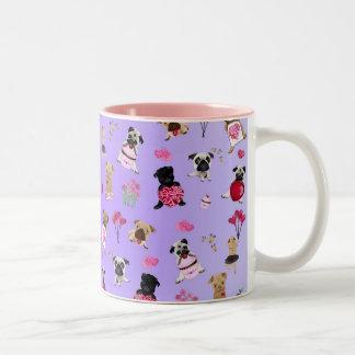 Cool Valentine Pugs on Lavender Background Two-Tone Coffee Mug