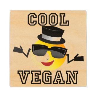 Cool Vegan Emoji Wood Coaster