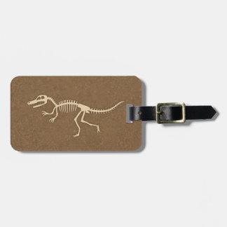 Cool Velociraptor Dinosaur Bones and Skeleton Bag Tag