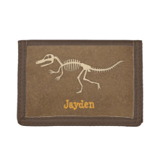 Cool Velociraptor Dinosaur Bones For Boys Trifold Wallet at Zazzle