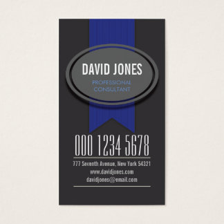 Cool Vertical Deep Blue Ribbon Business Card