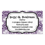 Cool Vibrant Distressed Purple Lace Damask Pattern Business Card Template