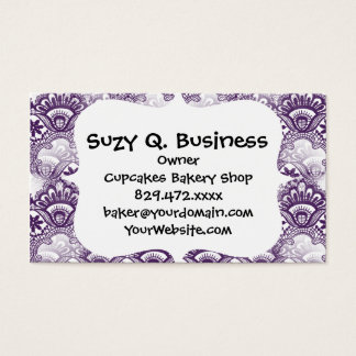 Cool Vibrant Distressed Purple Lace Damask Pattern Business Card