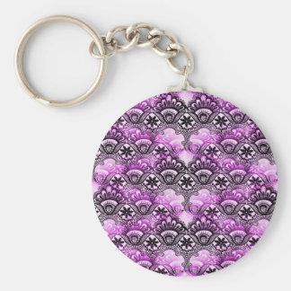 Cool Vibrant Distressed Purple Lace Damask Pattern Keychain