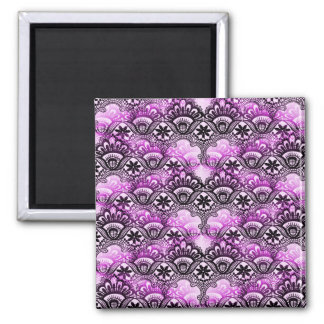 Cool Vibrant Distressed Purple Lace Damask Pattern Magnet
