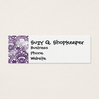 Cool Vibrant Distressed Purple Lace Damask Pattern Mini Business Card
