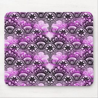 Cool Vibrant Distressed Purple Lace Damask Pattern Mouse Pad