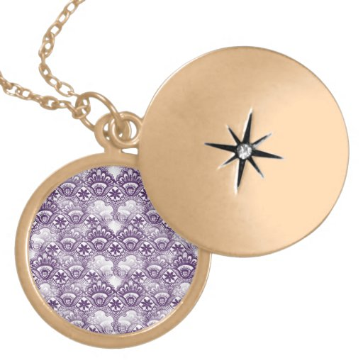 Cool Vibrant Distressed Purple Lace Damask Pattern Necklaces