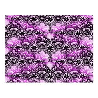 Cool Vibrant Distressed Purple Lace Damask Pattern Postcard