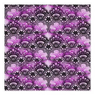 Cool Vibrant Distressed Purple Lace Damask Pattern Poster