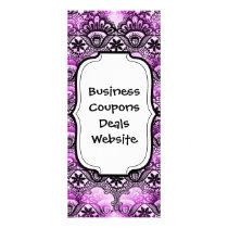 Cool Vibrant Distressed Purple Lace Damask Pattern Rack Card
