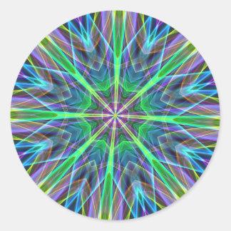 Cool Vibrant Neon Pastel Aura Mandela Classic Round Sticker