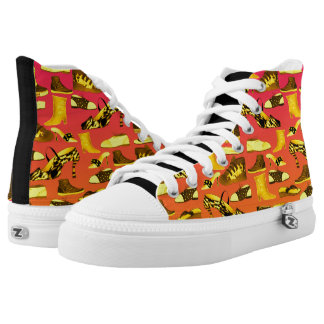 Cool Vibrant Yellow Pink Black Hand Drawn High-Top Sneakers