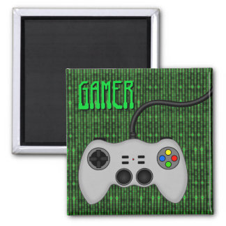 Cool Video Game Controller Vector in Grey 2 Inch Square Magnet