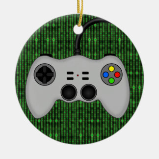 Cool Video Game Controller Vector in Grey Ceramic Ornament