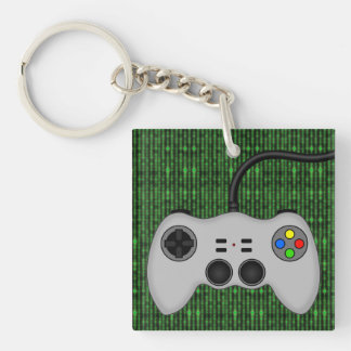 Cool Video Game Controller Vector in Grey Keychain