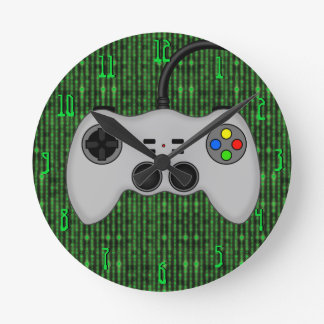 Cool Video Game Controller Vector in Grey Round Clock