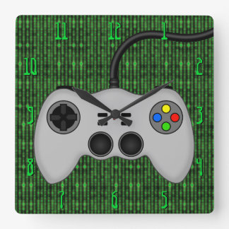 Cool Video Game Controller Vector in Grey Square Wall Clock