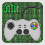 Cool Video Game Controller Vector in Grey Square Stickers