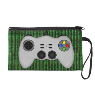 Cool Video Game Controller Vector in Grey Wristlet Purse