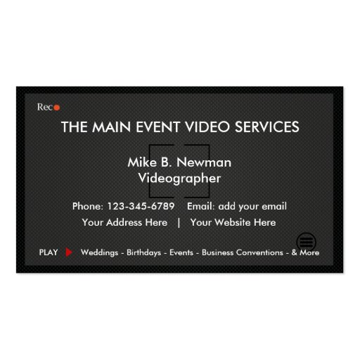 Cool videographer business cards zazzle for Videographer business cards