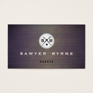 Cool Vintage Barber Monogram Scissors Logo Wood Business Card