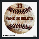 """Cool Vintage Baseball Wall Art NAME, Jersey NUMBER Wall Decal<br><div class=""""desc"""">Cool Vintage Baseball Wall Art fabric paper moveable Personalized Baseball Decals with NAME and Jersey NUMBER. Click &quot;MORE&quot; to see both text boxes to type in YOUR TEXT or delete text. Call Rod or Linda to HELP you or to make any changes: 239-949-9090. You can move these cool baseball decals...</div>"""