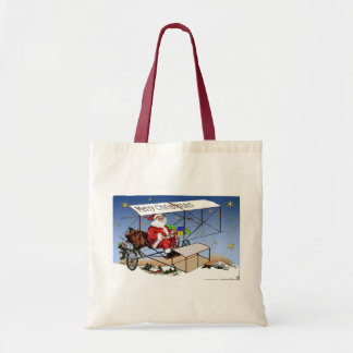 Cool Vintage Biplane Santa Claus Budget Tote Bag