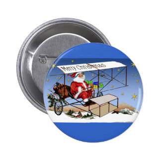 Cool Vintage Biplane Santa Claus Button