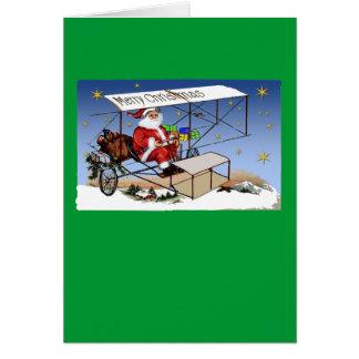 Cool Vintage Biplane Santa Claus Card