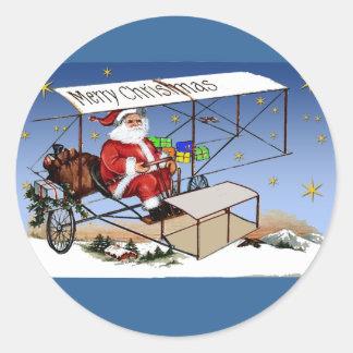 Cool Vintage Biplane Santa Claus Classic Round Sticker
