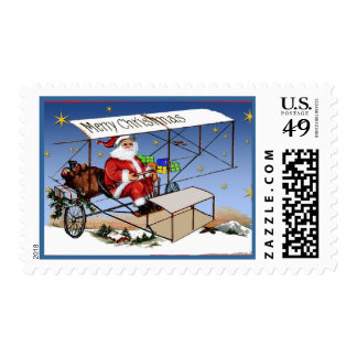 Cool Vintage Biplane Santa Claus Postage Stamp