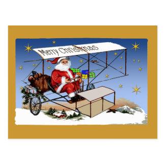 Cool Vintage Biplane Santa Claus Postcard