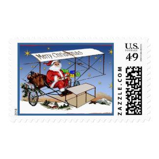 Cool Vintage Biplane Santa Claus Stamps