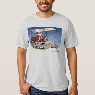 Cool Vintage Biplane Santa Claus T-Shirt