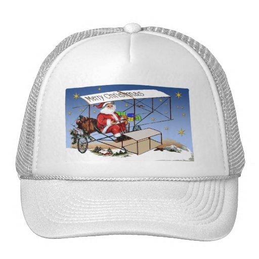 cool vintage biplane santa claus trucker hat zazzle