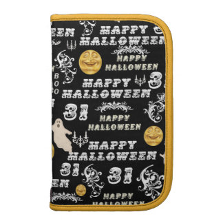 Cool Vintage Black  White Happy Holloween Design Folio Planners