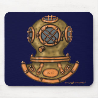 Cool vintage diving helmet graphic art mousepad
