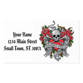 Cool  Vintage flowery skull with wings Tattoo Double-Sided Standard Business Cards (Pack Of 100)