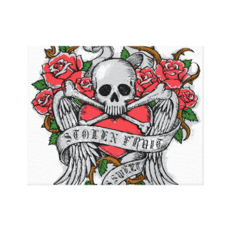 Cool Vintage flowery skull with wings Tattoo Canvas Print