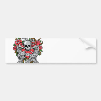 Cool  Vintage flowery skull with wings Tattoo Car Bumper Sticker