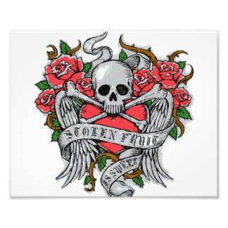 Cool Vintage flowery skull with wings Tattoo Photo Print