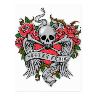 Cool  Vintage flowery skull with wings Tattoo Postcard