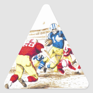 Cool Vintage Football Game Players Photo Image Triangle Sticker