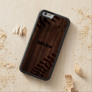 Cool Vintage Grunge Baseball Personalized Carved Walnut iPhone 6 Bumper Case