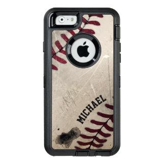 Cool Vintage Grunge Baseball Personalized OtterBox Defender iPhone Case