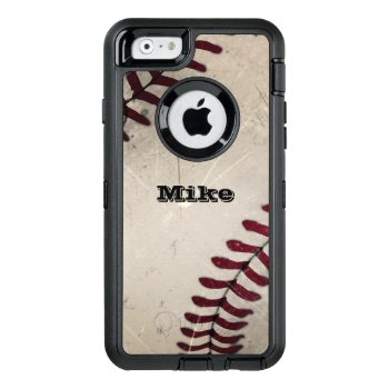 Cool Vintage Grunge Baseball Personalized Otterbox Defender Iphone Case by riverme at Zazzle