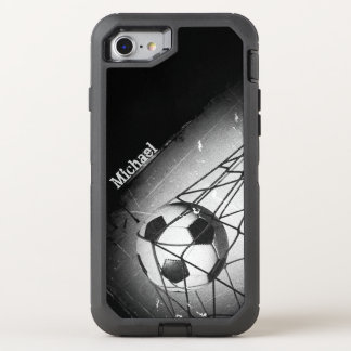 Cool Vintage Grunge Football in Goal OtterBox Defender iPhone 7 Case