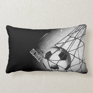 Cool Vintage Grunge Football in Goal Personalized Lumbar Pillow